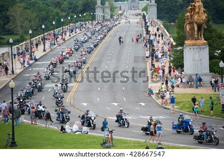 WASHINGTON  ?? MAY 29: Riders take part in Rolling Thunder, a motorcycle rally to bring attention to POWs and MIAs of US-involved wars, on May 29, 2016 in Washington, DC.   - stock photo