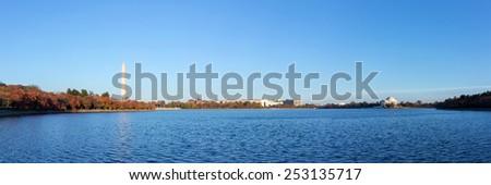 Washington Monument and Jefferson Memorial at Tidal Basin,Washington DC, USA. Panoramic image. - stock photo