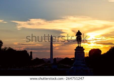 Washington Monument and National Mall at sunset, Washington DC, United States - stock photo