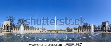 Washington Monument and the WWII memorial in Washington DC. - stock photo