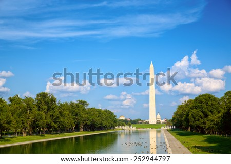 Washington Monument at National Mall in Washington, DC - stock photo