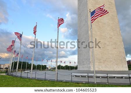 Washington Monument in clouds, Washington DC, United States - stock photo