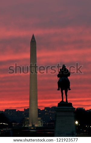 Washington Monument Sunset Vertical With Copy Space - stock photo