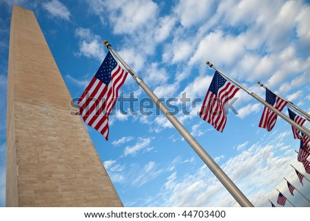 Washington Monument with American Flags - stock photo