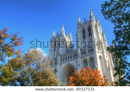 Washington National Cathedral in Washington DC - stock photo