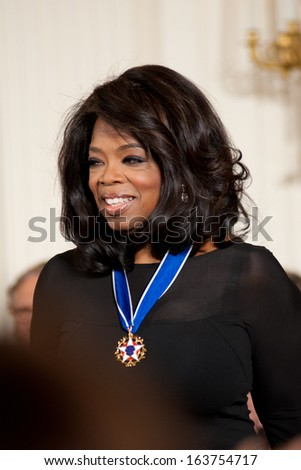 Washington -Â?Â? November 20: Oprah Winfrey after receiving the Presidential Medal of Freedom at a ceremony at The White House on November 20, 2013 in Washington, DC.  - stock photo