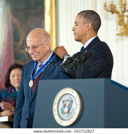 Washington - November 20: Psychologist Daniel Kahneman receives the Presidential Medal of Freedom at a ceremony at The White House on November 20, 2013 in Washington, DC.  - stock photo