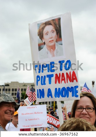 WASHINGTON - SEPTEMBER 12: Protesters rally against government tax and spending policies at the U.S. Capitol on September 12, 2009 in Washington. - stock photo