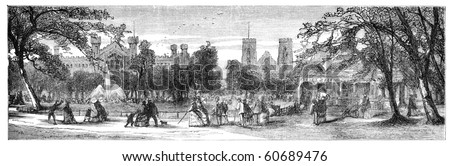"Washington Square, New York. Illustration originally published in Hesse-Wartegg's ""Nord Amerika"", swedish edition published in 1880. The image is currently in public domain by the virtue of age. - stock photo"
