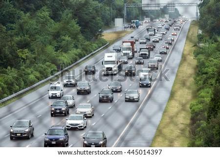 WASHINGTON, USA - JUNE, 23 2016 - Maryland Baltimore to Washington heavy car traffic Congested highway  - stock photo