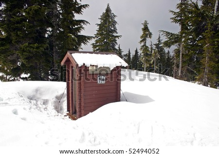 Washroom in snow field use for winter hiking. - stock photo