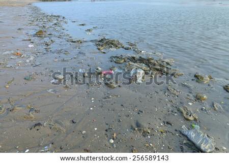 Waste at sea - stock photo