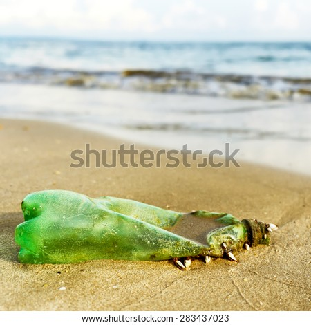 Waste destruction of nature : Beach concept - stock photo