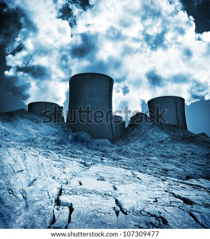 Waste earth, nuclear pollution, toxic background. - stock photo