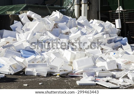 Waste from foam, environmental problems - stock photo