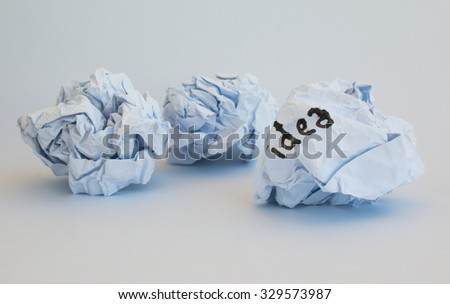 Waste idea on paper in white background - stock photo