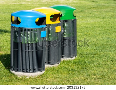 Waste separation of paper, plastic, glass, mettal for recycling. - stock photo