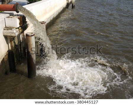 Waste water river - stock photo
