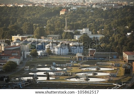 Waste water treatment plant at the sunrise, Prague, Czech Republic - stock photo