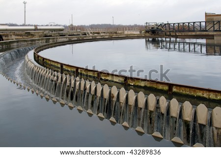 waste water treatment plant primary sedimentator - stock photo
