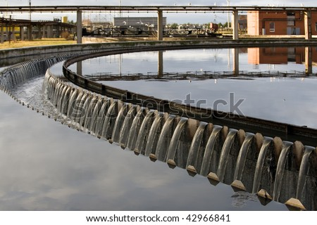 Waste water treatment plant view - stock photo