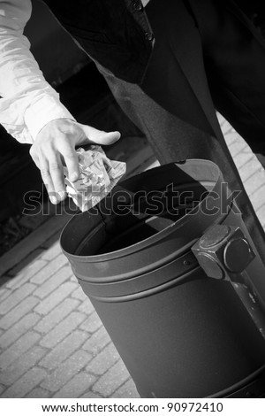 wastepaper bin - stock photo
