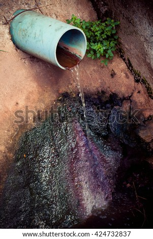 Wastewater from sewer - stock photo