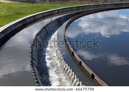Wastewater treatment plant - stock photo