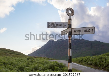 Wastwater in the lake district cumbria road sign - stock photo