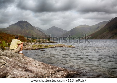 Wastwater or Wast Water in English Lake District on cloudy day - stock photo