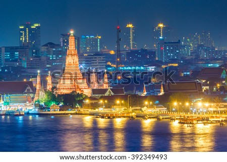 Wat Arun Buddhist religious places at night scene, Bangkok, Thailand - stock photo