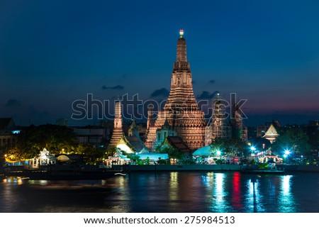 Wat arun in twilight at Bangkok,Thailand - stock photo