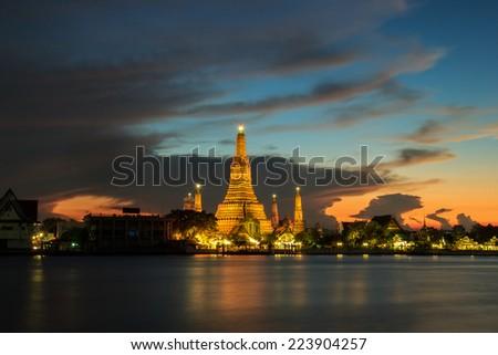 Wat arun in twilight time and fantastic sky, Bangkok, Thailand - stock photo