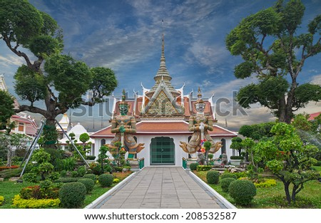 Wat Arun  is a Buddhist temple  in Bangkok Yai district of Bangkok, Thailand, on the Thonburi west bank of the Chao Phraya River. - stock photo