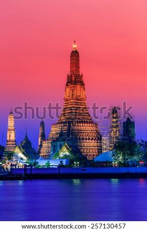Wat Arun Rajwararam Temple in bangkok thailand - stock photo