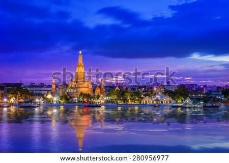 Wat Arun Temple at twilight in Bangkok, Thailand - stock photo