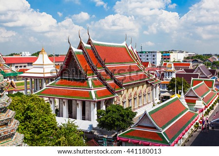 Wat Arun Temple is a Buddhist temple in Bangkok in Thailand - stock photo