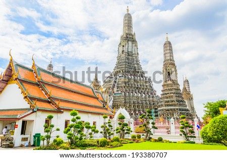 Wat arun , temple of dawn in bangkok Thailand - stock photo