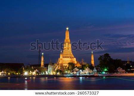 Wat Arun Temple sunset in bangkok Thailand - stock photo