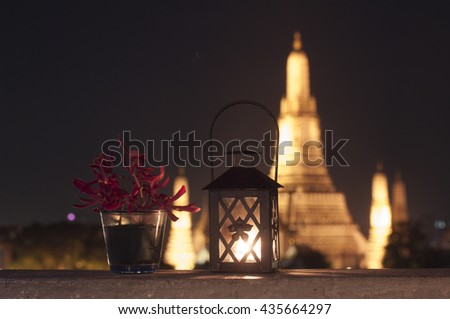 Wat Arun, The Temple of Dawn, at sunset,view across river. Bangkok, Thailand. - stock photo