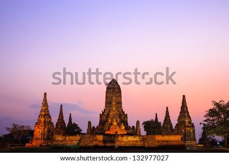 Wat Chaiwatthanaram at twilight, Ayutthaya, Thailand - stock photo