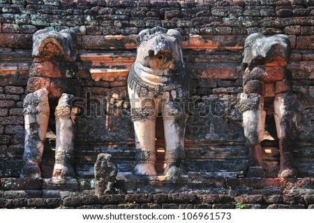 Wat chang-Rob ,Khamphangphet province,north of Thailand. - stock photo