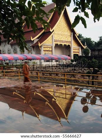 wat chdi luang  in Chiang mai Thailand - stock photo