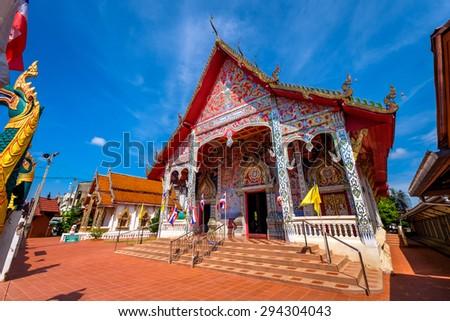 Wat Hua wiang tai, Buddhist temple in Nan province, Thailand - stock photo