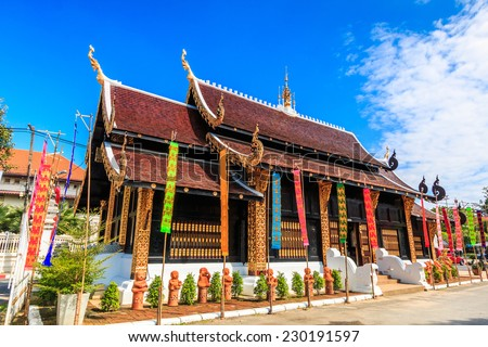 Wat inthakhin saduemuang 700 years, Old wooden temple in Chiang Mai Thailand, They are public domain or treasure of Buddhism, no restrict in copy or use  - stock photo