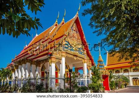Wat Mongkol Nimit temple in Phuket town, southern Thailand. - stock photo