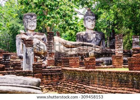 Wat Phra Kaeo in Kamphaeng Phet Historical Park, Thailand. - stock photo