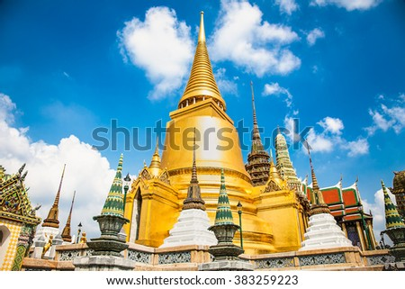 Wat Phra Kaeo, Temple of the Emerald Buddha and the home of the Thai King. Wat Phra Kaeo is one of Bangkok's most famous tourist sites and it was built in 1782 at Bangkok, Thailand. - stock photo