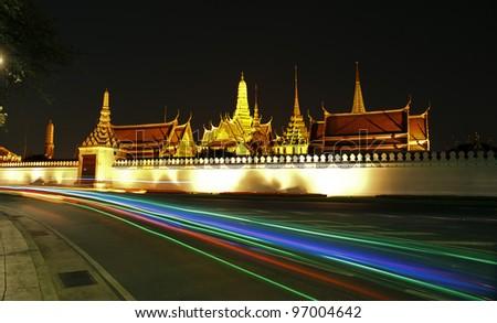 Wat Phra Kaew at night and street, bangkok, Thailand. - stock photo