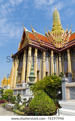 Wat Phra Kaew or Temple of the Emerald Buddha in the Grand Palace Complex, Bangkok, Thailand - stock photo